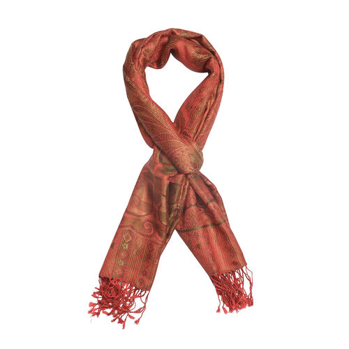 Jacquard Pattern 100% Mulberry Silk Red Colour Scarf (Size 70x180 Cm)