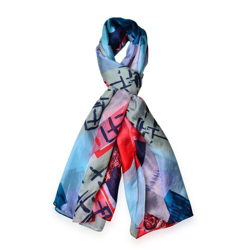 One Time Deal-Designer Inspired 100% Mulberry Silk Red, Blue and Multi Colour Abstract Printed Scarf