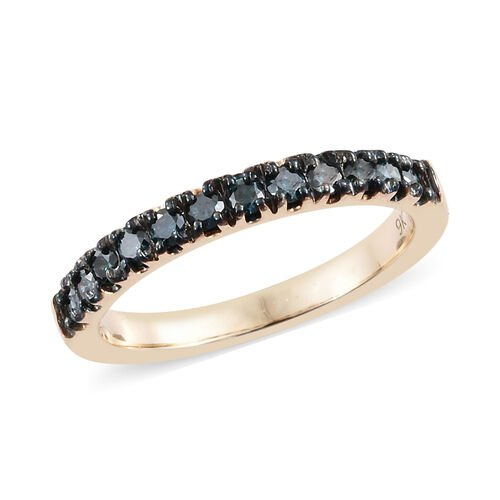 9K Yellow Gold Diamond (Rnd) Half Eternity Ring 0.400 Ct.