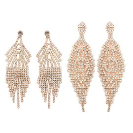 Set of 2 White Austrian Crystal (Rnd) Dangle Earrings (with Push Back) in Yellow Gold Tone
