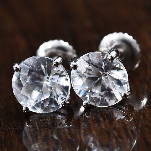 RHAPSODY 950 Platinum 100% Natural AAAA Tanzanian White Zircon (Rnd 7.5 mm) Stud Earrings (with Screw Back) 4.00Ct.