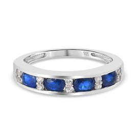 Tanzanian Blue Spinel and Natural Cambodian Zircon Half Eternity Band Ring in Platinum Overlay Sterl