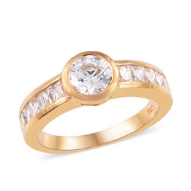 J Francis Made with Swarovski Zirconia Solitaire Design Ring in Gold Plated Sterling Silver