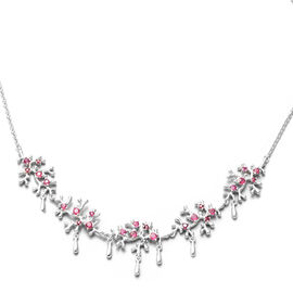 Lucy Q Splash Collection - African Ruby (FF) Necklace (Size:16 with 4 inch Extender) in Rhodium Over