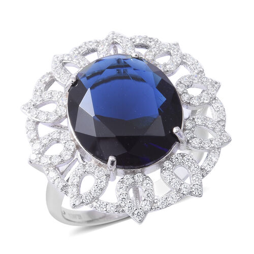 ELANZA  Simulated Blue Sapphire (Ovl), Simulated Diamond  Ring in Rhodium Overlay Sterling Silver