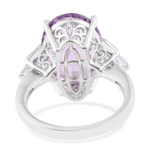 Rose De France Amethyst (Ovl 10.90 Ct), White Topaz Ring in Platinum Overlay Sterling Silver 11.750 Ct.
