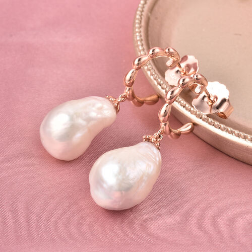 LucyQ - Freshwater White Baroque Pearl Earrings (with Push Back) in Rose Gold Overlay Sterling Silver