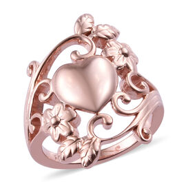 Rose Gold Overlay Sterling Silver Heart Floral Ring, Silver wt 5.56 Gms.