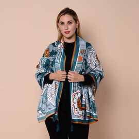 Close Out Fashion Scarf  / Sarong  in Floral Pattern (Size 180x90cm) with Tassels - Teal and White