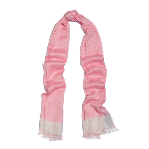 Lurex Bordered Pink Colour Scarf with Tassels (Size 180x70 Cm)
