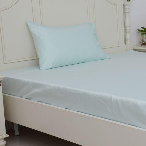 Single Size Set of 3- Mint Colour Matt Satin Flat Sheet (Size 265x180 Cm), Fitted Sheet (Size 190x90