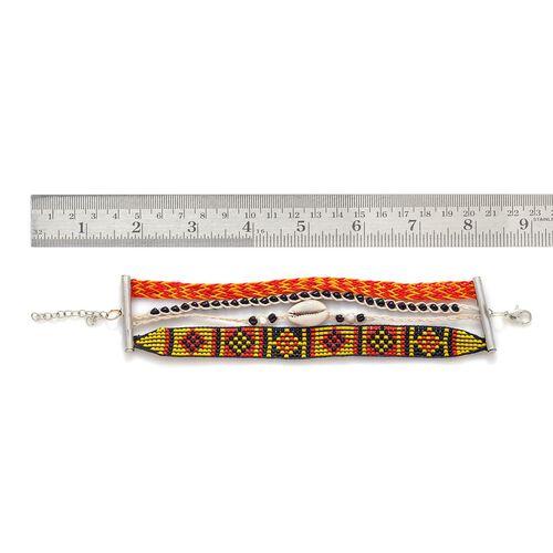Tangerine Cowry Shell Bracelet in Silver Tone