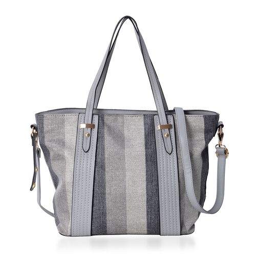 Black and Grey Stripe Large Tote Bag with Adjustable Shoulder Strap (Size 43x32x28.5x15.5 Cm)