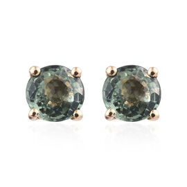 ILIANA 18K Yellow Gold 1.40 Carat AAA Green Sapphire (Rnd) Stud Earrings (with Screw Back)