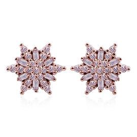 9K Rose Gold Natural Pink Diamond (Rnd and Bgt) Stud Earrings 0.35 Ct.