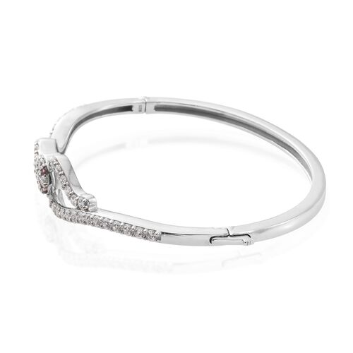 J Francis - Platinum Overlay Sterling Silver (Rnd) Serpentine Bangle (Size 7.5) Made with White and Red SWAROVSKI ZIRCONIA, Silver wt 17.02 Gms.