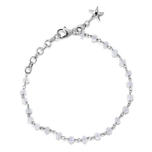 GP Rainbow Moonstone (Rnd), Kanchanaburi Blue Sapphire Bracelet (Size 7 with 1 inch Extender) with Star Charm in Platinum Overlay Sterling Silver 10.660 Ct.