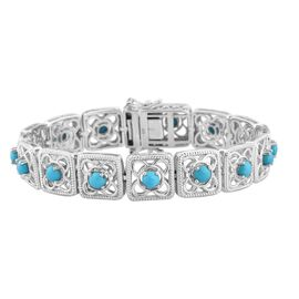 AA Arizona Sleeping Beauty Turquoise Bracelet (Size 7) in Platinum Overlay Sterling Silver 4.50 Ct,