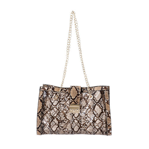 New Arrival- 2 Piece Set Python Skin Pattern Tote Bag (Size 35x10x24cm) with Chain Strap and Pouch Bag (Size 23x8x18cm) - Brown