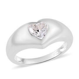 J Francis - Sterling Silver (Hrt 6 mm) Ring Made with SWAROVSKI ZIRCONIA