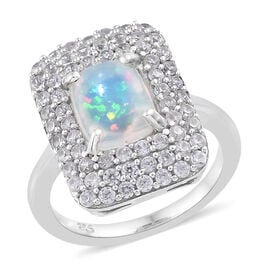 3 Carat Ethiopian Welo Opal and Cambodian Zircon Halo Ring in Sterling Silver 4.11 Grams