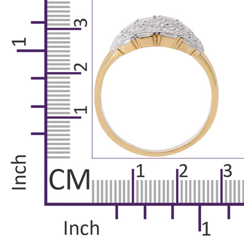 ELANZA Simulated White Diamond (Bgt) Ring in Yellow Gold Overlay Sterling Silver, Silver wt 5.25 Gms.