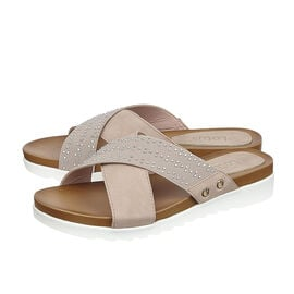 Lotus Pink Sharon Flat Mule Sandals