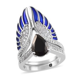 GP 2 Piece Set - Elite Shungite (Pear), Natural Cambodian Zircon and Blue Sapphire Enamelled Ring in