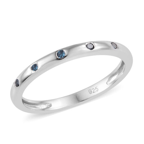 Blue Diamond (Rnd) Stacker Band Ring in Platinum Overlay Sterling Silver