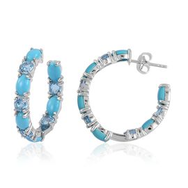 Arizona Sleeping Beauty Turquoise (Ovl), Swiss Blue Topaz Earrings (with Push Back) in Rhodium Plated Sterling Silver 7.000 Ct. Silver wt 5.64 Gms.