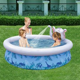 Inflatable Elephant Kids Swimming Pool with Spray (Size: 2.05x47cm) - Blue and White
