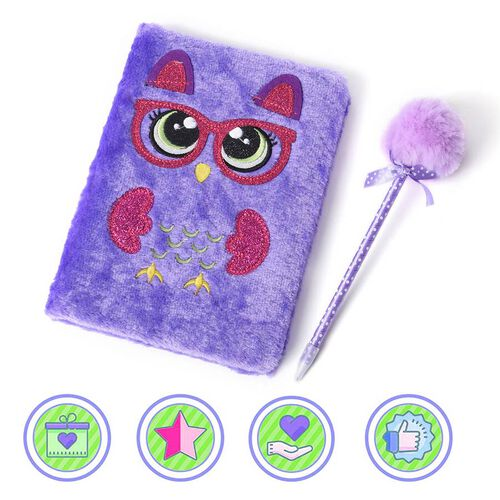 2 Piece Set - Fluffy Owl Cover Notebook with Pom-Pom Blue Ink Pen - Purple and Rose Red