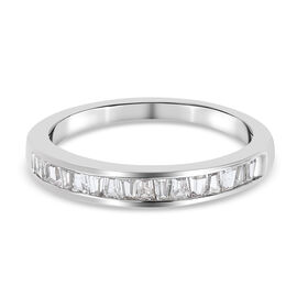 White Sapphire Band Ring in Platinum Overlay Sterling Silver