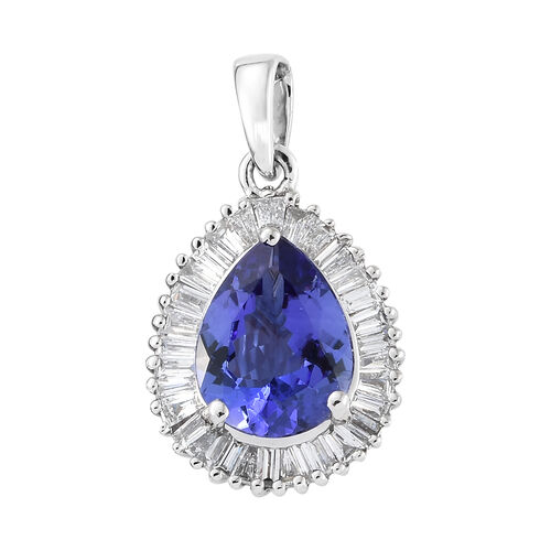 RHAPSODY 950 Platinum AAAA Tanzanite (Pear), Diamond (VS/E-F) Pendant 1.750 Ct.