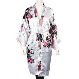 White and Multi Colour Kimono with Peacock and Peony Pattern (Size 65x100 Cm)