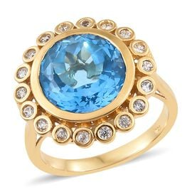 10.75 Ct Marambaia Topaz and Zircon Halo Ring in 14K Gold Plated Sterling Silver 5.69 Grams