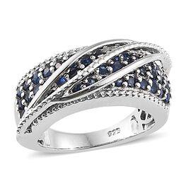 Kanchanaburi Blue Sapphire (Rnd) Ring in Platinum Overlay Sterling Silver 1.250 Ct, Silver wt. 6.50