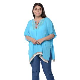 Blue Colour Poncho with Embroidery Collar and Small Tassel (One Size)