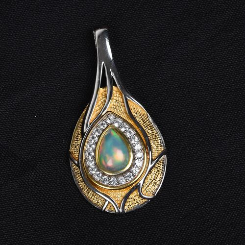 Ethiopian Welo Opal and Natural Cambodian Zircon Pendant in Platinum and Yellow Gold Overlay Sterling Silver 1.25 Ct.