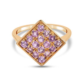 Purple Sapphire Cluster Ring in Yellow Gold Overlay Sterling Silver 1.47 Ct.