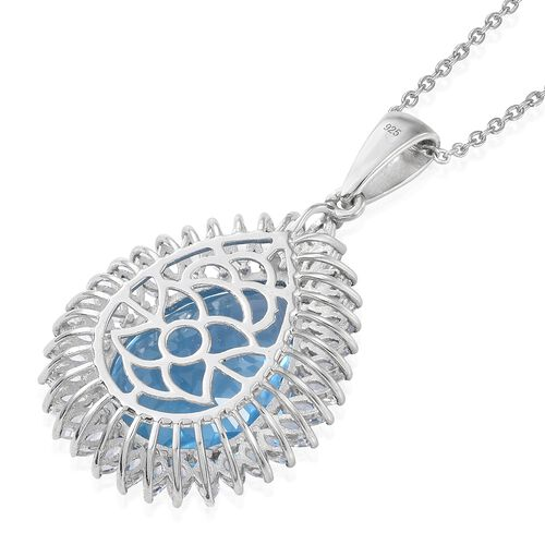 TJC Launch - Marambaia Topaz (Very Rare Size Pear 22X16), White Topaz Pendant with Chain (Size 18) in Platinum Overlay Sterling Silver 28.750 Ct. Silver wt 7.42 Gms.