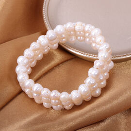 White Freshwater Pearl and White Crystal Stretchable Bracelet (Size 6)