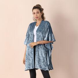 Velvet Kimono with Falbala Sleeve - Turquoise