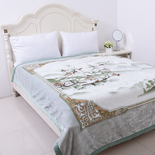 Serenity Night - Supersoft Luxurious and Comfortable 3D Printed Flower with Mountain Pattern Double Layer Blanket (Size 200x235cm)