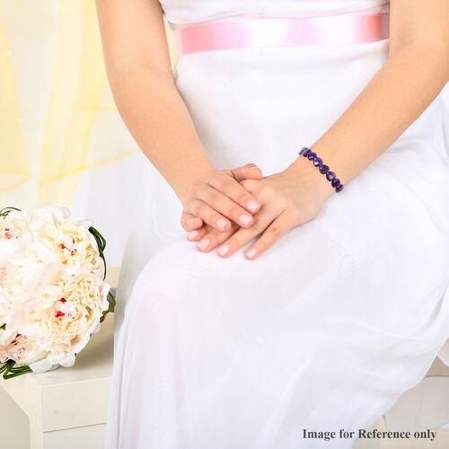 Amethyst Heart Shape Beaded Bracelet (Size 6.5) 76.00 Ct.