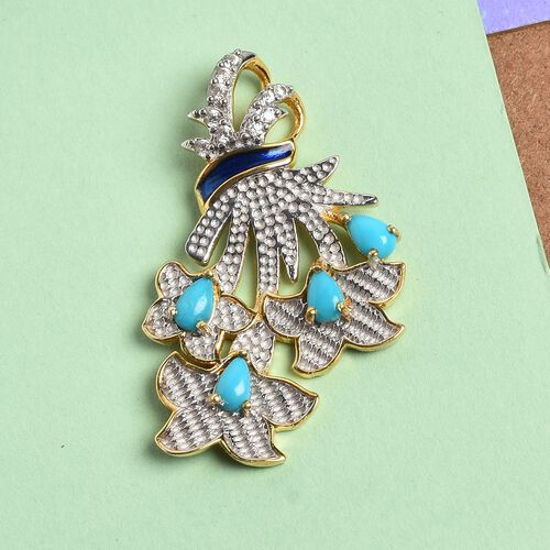 Arizona Sleeping Beauty Turquoise and Natural Cambodian Zircon Enamelled Flower Bouquet Pendant in Platinum and Yellow Gold Overlay Sterling Silver
