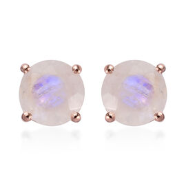 Rainbow Moonstone (Rnd) Stud Earrings (with Push Back) in Rose Gold Overlay Sterling Silver 2.750 Ct