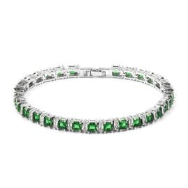 Simulated Diopside and Simulated Diamond Tennis Bracelet in Silver Tone 7 Inch