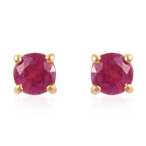 2 Piece Set - African Ruby (Rnd) Solitaire Pendant and Stud Earrings (with Push Back) in 14K Yellow Gold Overlay Sterling Silver