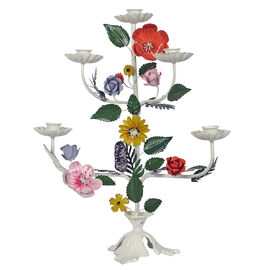 Spring Special - Handcrafted Floral Candle Holder with 5 Arms (Size 33x12x43 Cm) - Multicolour